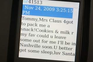 for a mere 549 you can schedule an sms package that creates the illusion of santa sending your child a text message